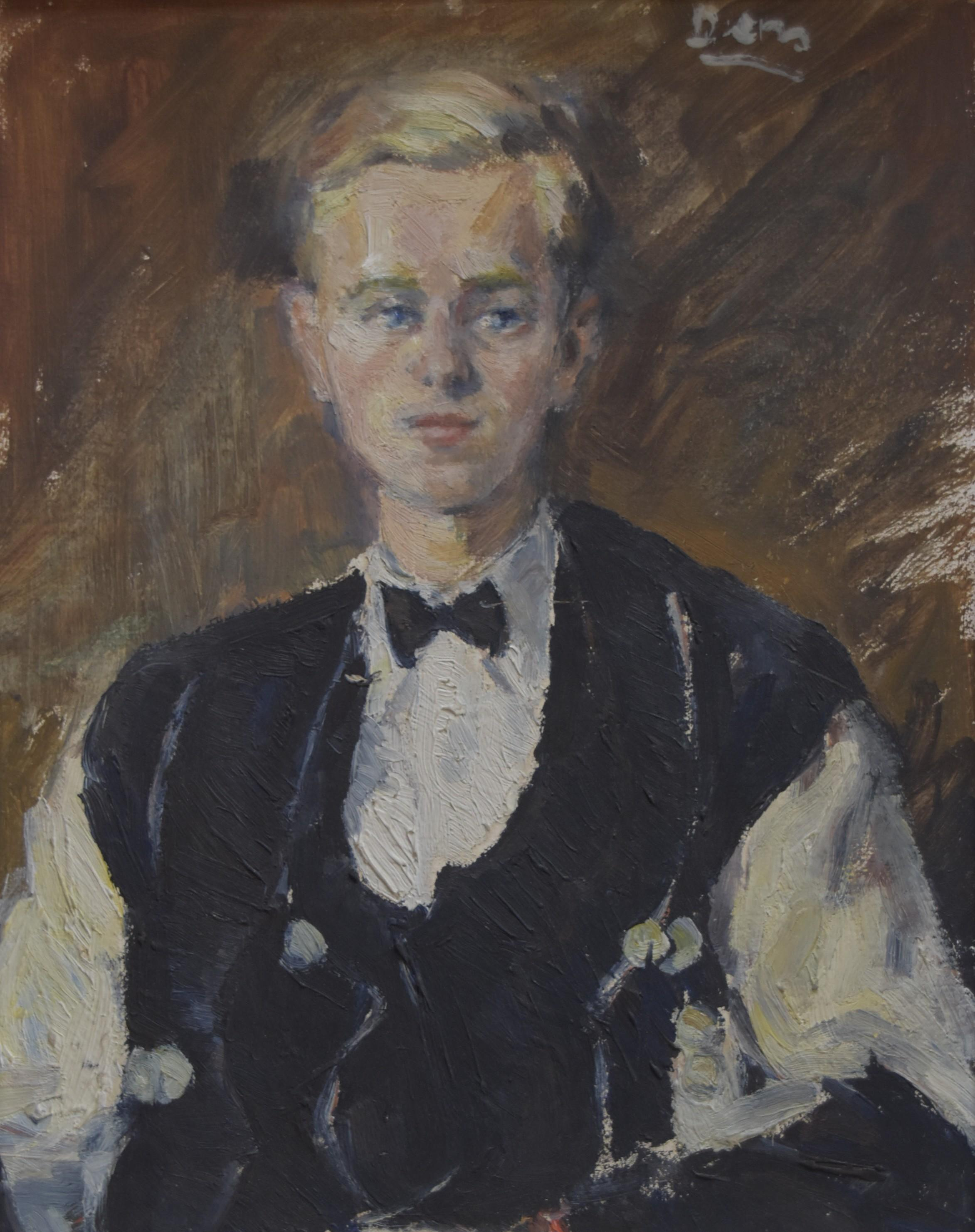 French school circa 1930, Portrait of a young man, oil