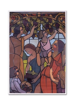 French School, early 20th C, art deco stained glass design of grape pickers