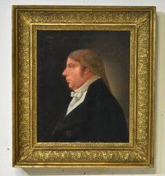 French School Portrait of a Man in Original Frame, Circa 1810