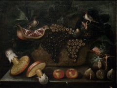 Fruit Basket with Mushrooms and Little Birds, by 17th Century Master