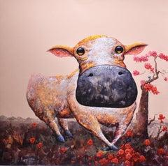 """Fun"", Comic Animals Modern Pop Art, Playful Cow & Bird, Maple Tree, Naive"