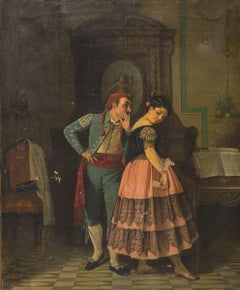 Gallant Scene in Spanish Costume-Oil on Canvas by Neapolitan Artist 19th Century
