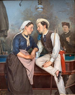 Gallantry Scene in a Tavern, Oil on Canvas Signed Rigot and Dated 1874