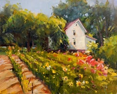 Garden of Color, Plein Air Landscape Original Fine Art Oil on Linen Board