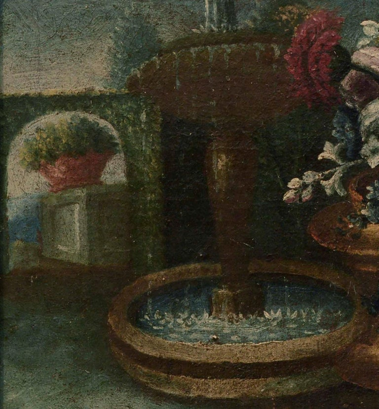 Early 20th Century Garden Still-Life  - Black Still-Life Painting by Unknown