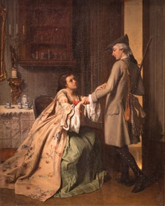 Genre Painting, Parting Lovers French, 19th centry Oil on canvas