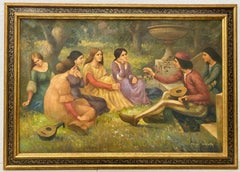 "George Grenville ""Medieval Garden Scene"" Oil Painting Early 20th Century"