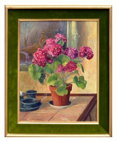 Geraniums & Nude Figure Still Life