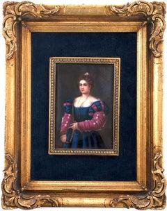 German Porcelain Plaque of a Renaissance Woman