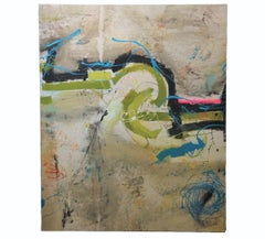 Gestural Abstract Expressionist with Green and Blue