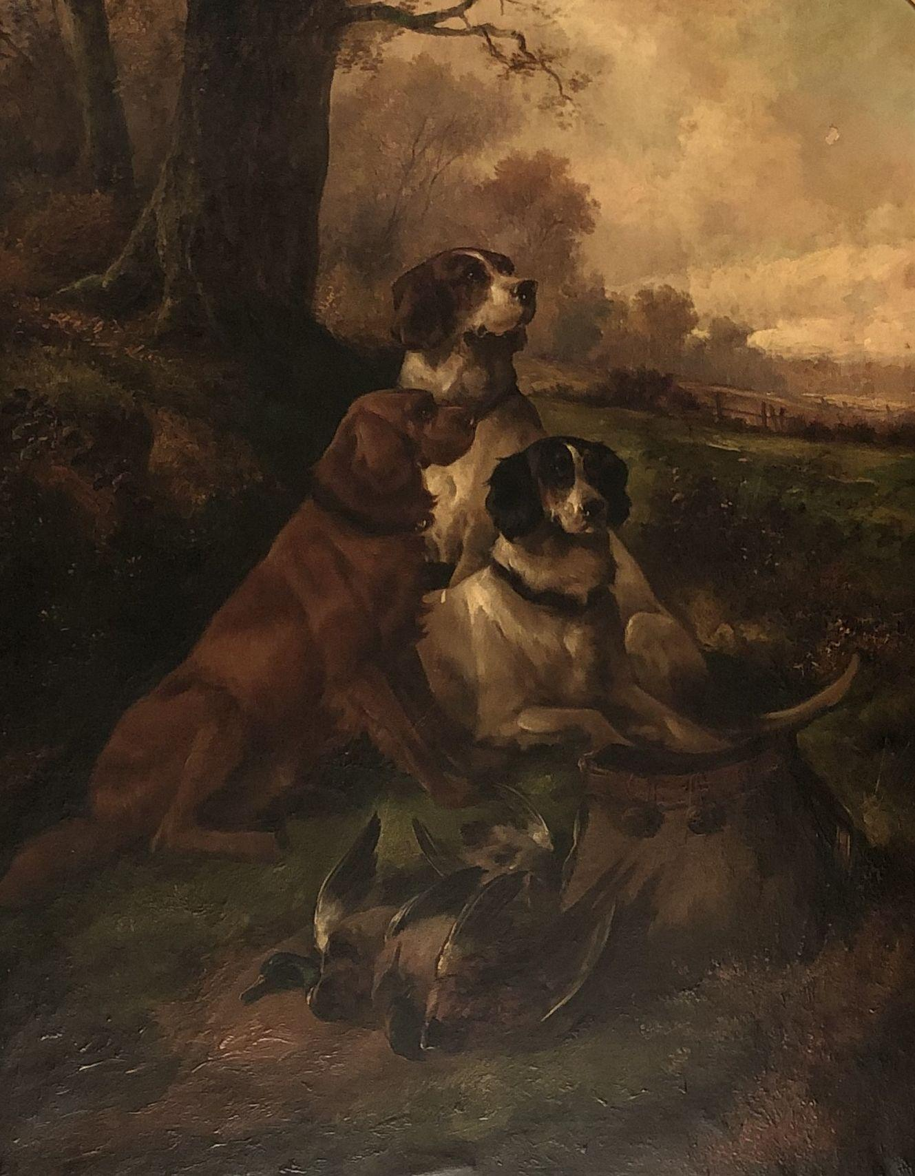 GIFFORD JOHN. Hunting dogs at rest. Oil on canvas. Signed.