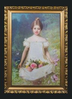 Girl Carrying Summer Roses Through A Garden, 19th Century