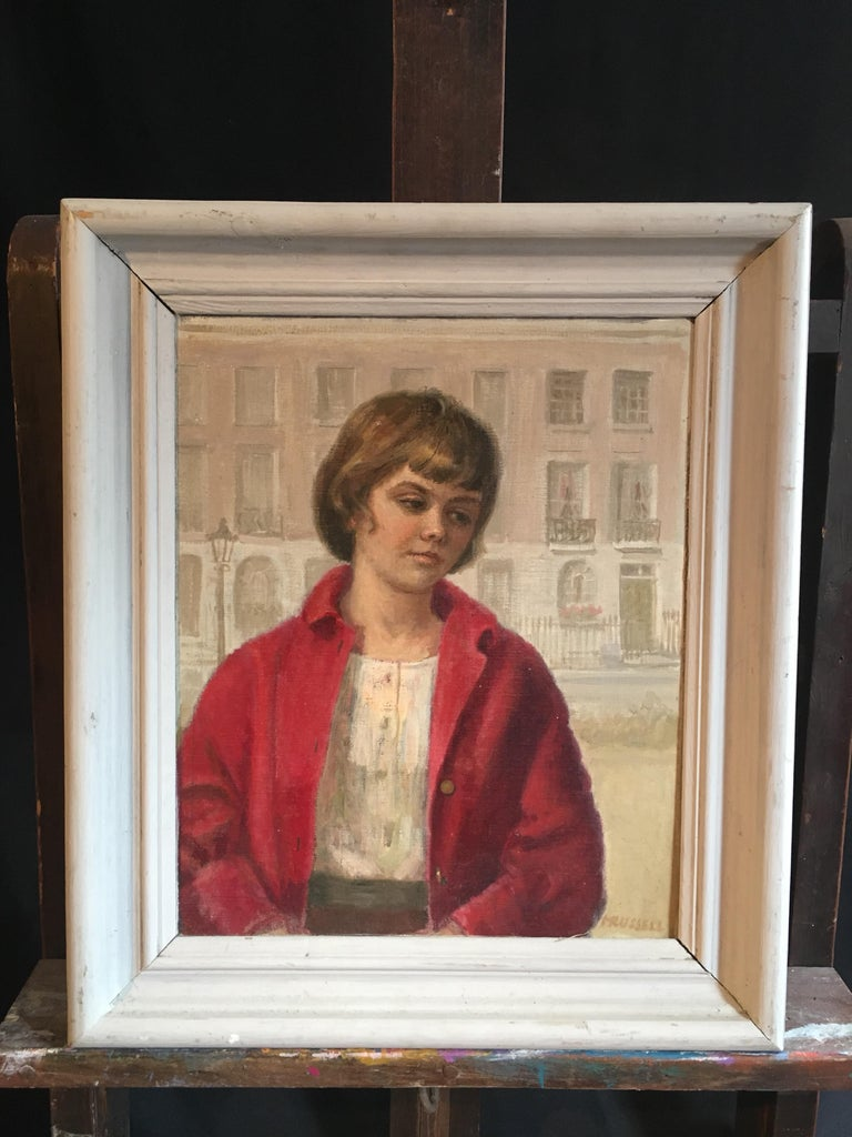 Girl in Red, Impressionist Portrait, Oil Painting, Signed  - Beige Portrait Painting by Unknown