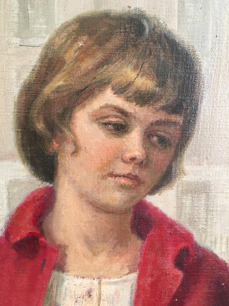 Girl in Red, Impressionist Portrait, Oil Painting, Signed  For Sale 3