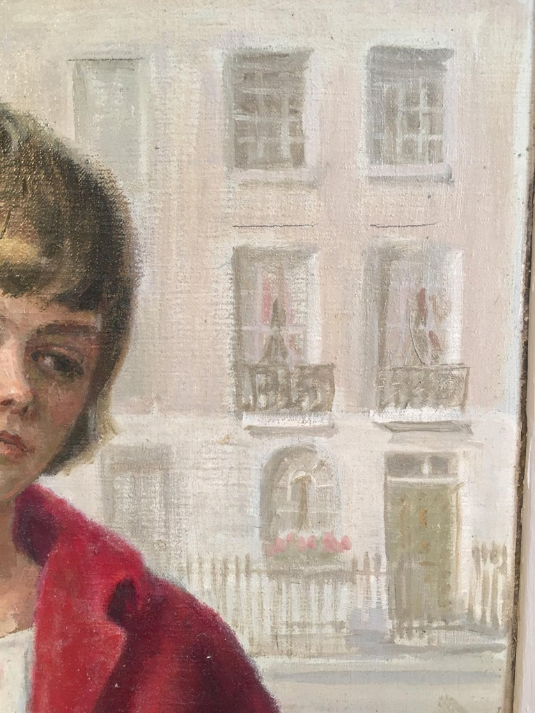 Girl in Red, Impressionist Portrait, Oil Painting, Signed  For Sale 4