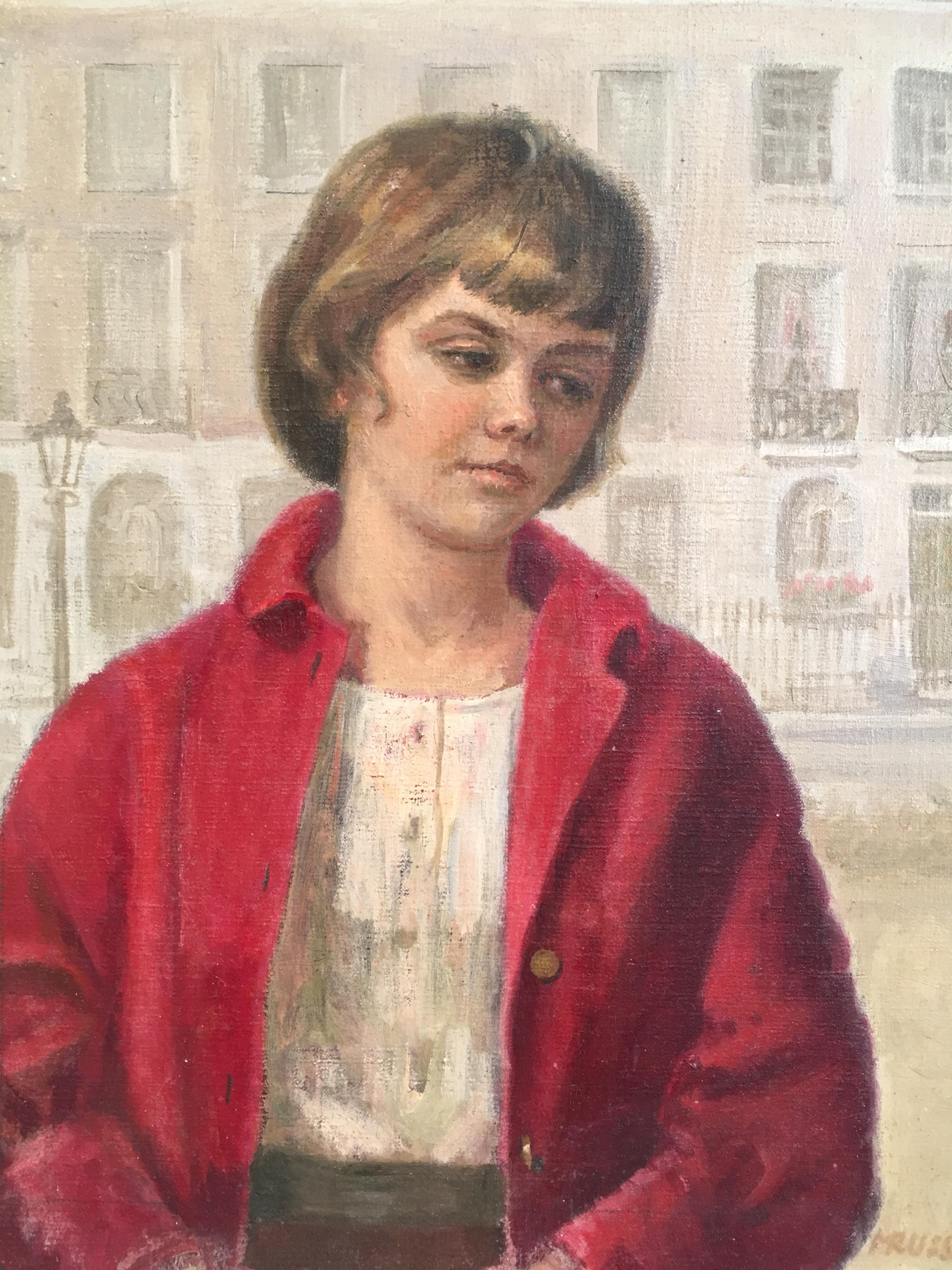 Girl in Red, Impressionist Portrait, Oil Painting, Signed