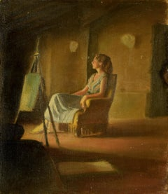 Girl on the Armchair - Oil on Canvas by Anonymous Italian Artist - 1950s