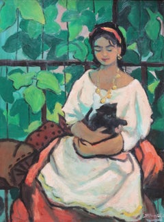 Girl with Black Kitten (young lady with cat), c.1940s
