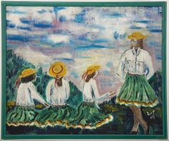 Girls on the Meadow - Original Oil Painting on Canvas signed C. Barbaro - 1948