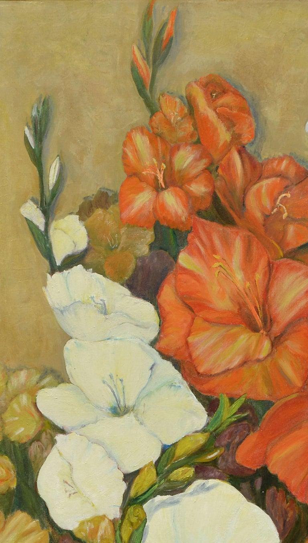 Gladiolas Floral Still Life - American Impressionist Painting by B Isbill