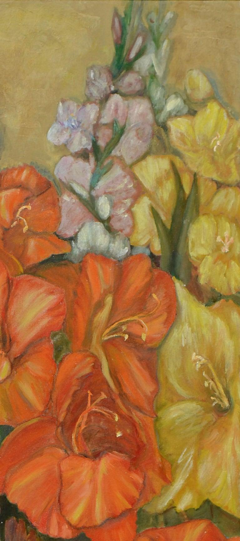 Gladiolas Floral Still Life - Brown Still-Life Painting by B Isbill