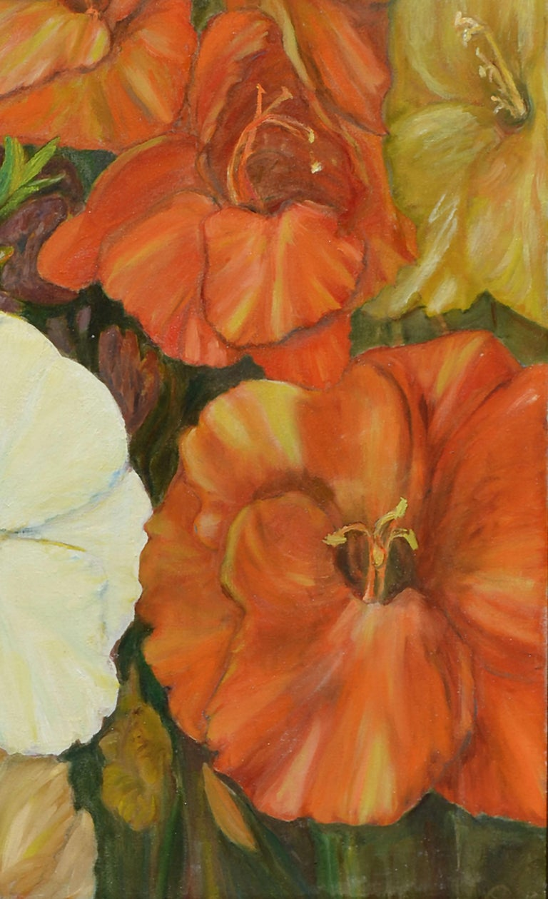 Close-up still life of yellow, orange and white gladiolas. Signed and dated lower left: