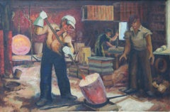 Glassblowers WPA Depression era Men working mid 20th Century modern Industrial