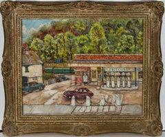 G.M.C - Ornately Framed Mid 20th Century Oil, At the Petrol Station