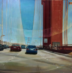 Golden Gate Bridge, bright and realistic cityscape in a thick impasto oil