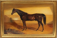 Golden Light Antique American School Large Horse Portrait Animal Oil Painting