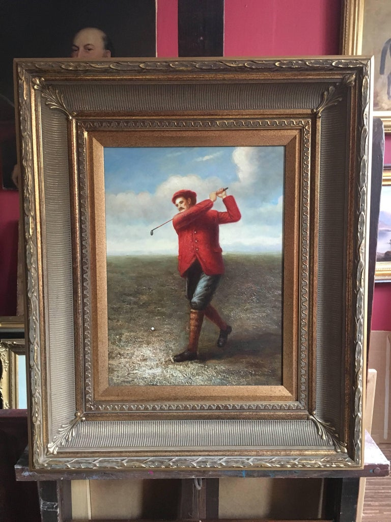 Golfer in Action, Fine Sporting Portrait, Oil Painting  - Brown Portrait Painting by Unknown