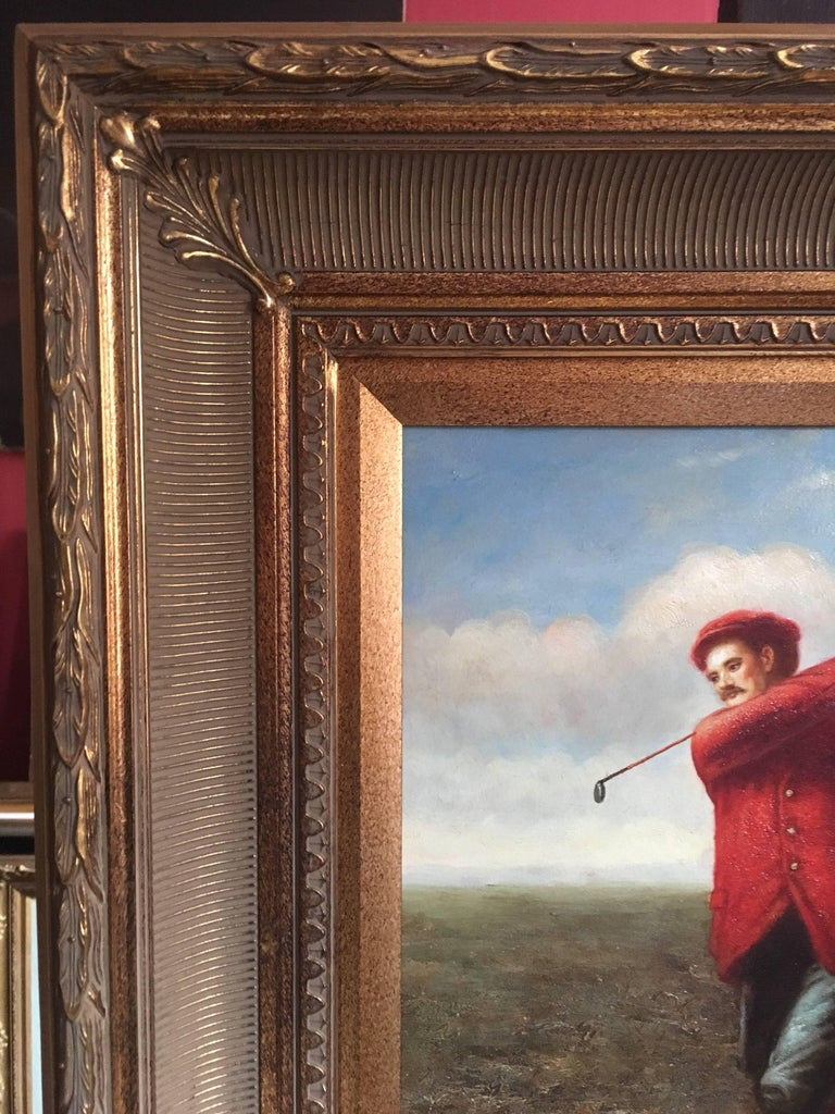 The Golfer unsigned, 20th Century Oil painting on canvas, framed Framed size: 25 x 21 inches  Stylish portrait of a dapper gentlemen in his tailored red sports jacket, matching hat and club. Definitely a painting for the golfing enthusiast.   The