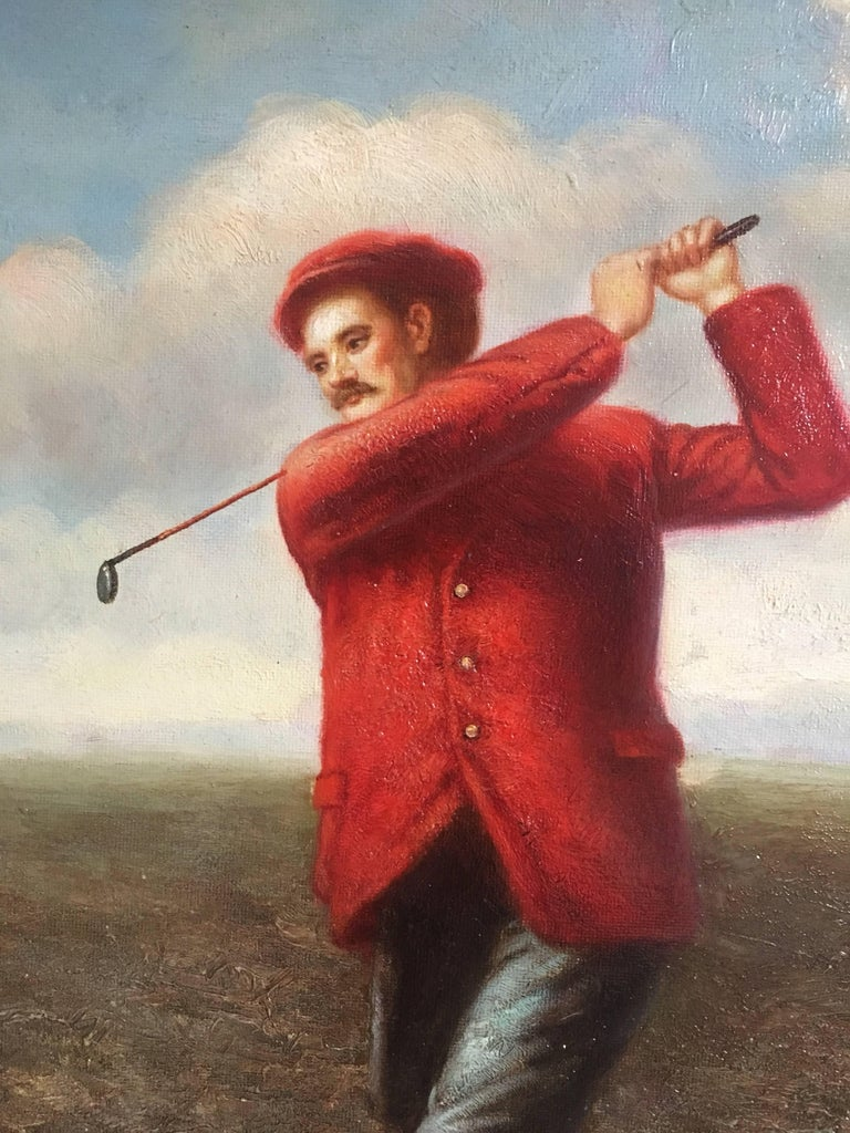 Golfer in Action, Fine Sporting Portrait, Oil Painting  For Sale 1