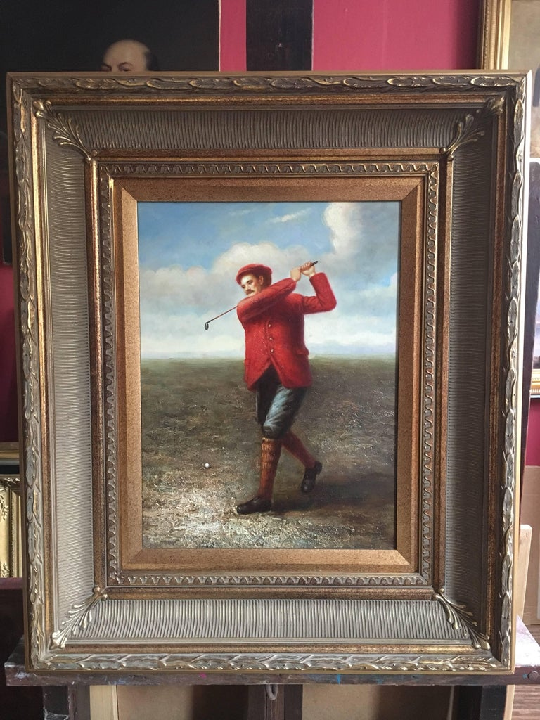 Golfer in Action, Fine Sporting Portrait, Oil Painting  For Sale 3