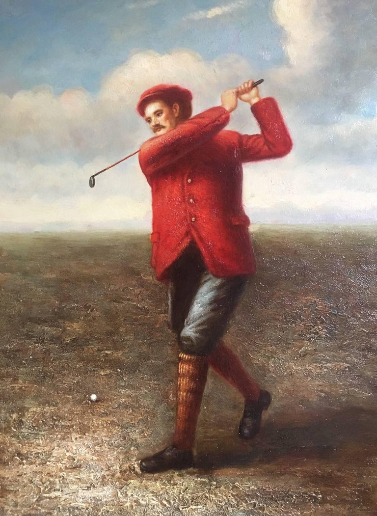Unknown Portrait Painting - Golfer in Action, Fine Sporting Portrait, Oil Painting