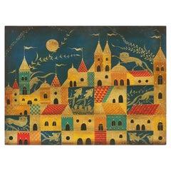 Gothic Style Folk Landscape with Animals signed Reyes