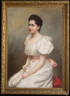 Graceful Portrait of the Countess Carrobio Pastel on Canvas 1910 circa