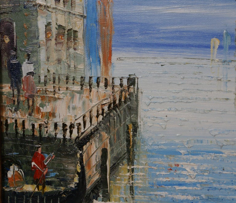 Elegant painting of the Grand Canal of Venice. In the foreground gondolas line the canal; the rotundas of the Roman Catholic church Santa Maria della Salute and minor basilica located at Punta della Dogana in the Dorsoduro sestiere of the city are