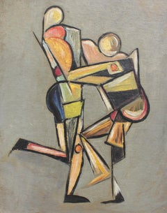 'Grappling with One's Ego', Mid-Century Modern Cubist Oil Painting, Berlin