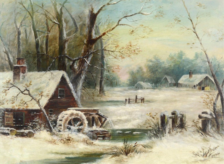 Grist Mill In the Snow - Early 20th Century Winter American Landscape  - Painting by Unknown