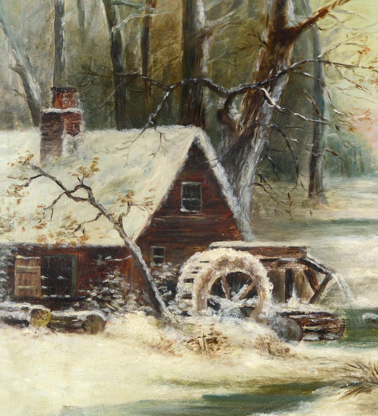 Grist Mill In the Snow - Early 20th Century Winter American Landscape  - American Impressionist Painting by Unknown