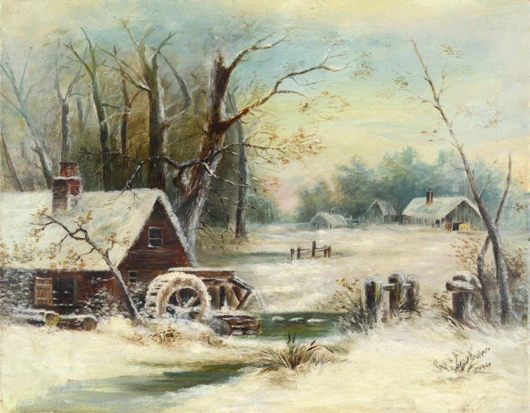 Unknown Landscape Painting - Grist Mill In the Snow - Early 20th Century Winter American Landscape