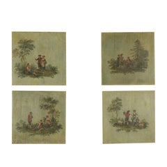 Group Of Four Painted Panels Late '800, Pastoral Scenes