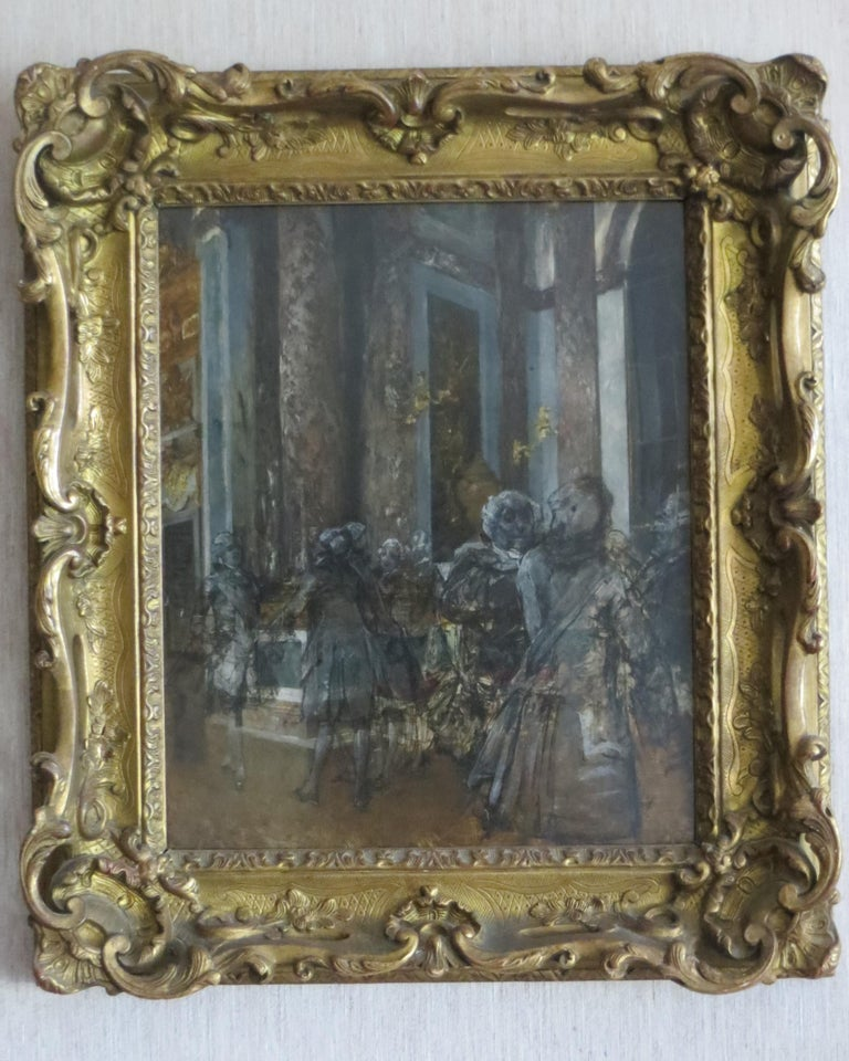 Hall of Mirrors in Versailles Castle - Painting by Unknown