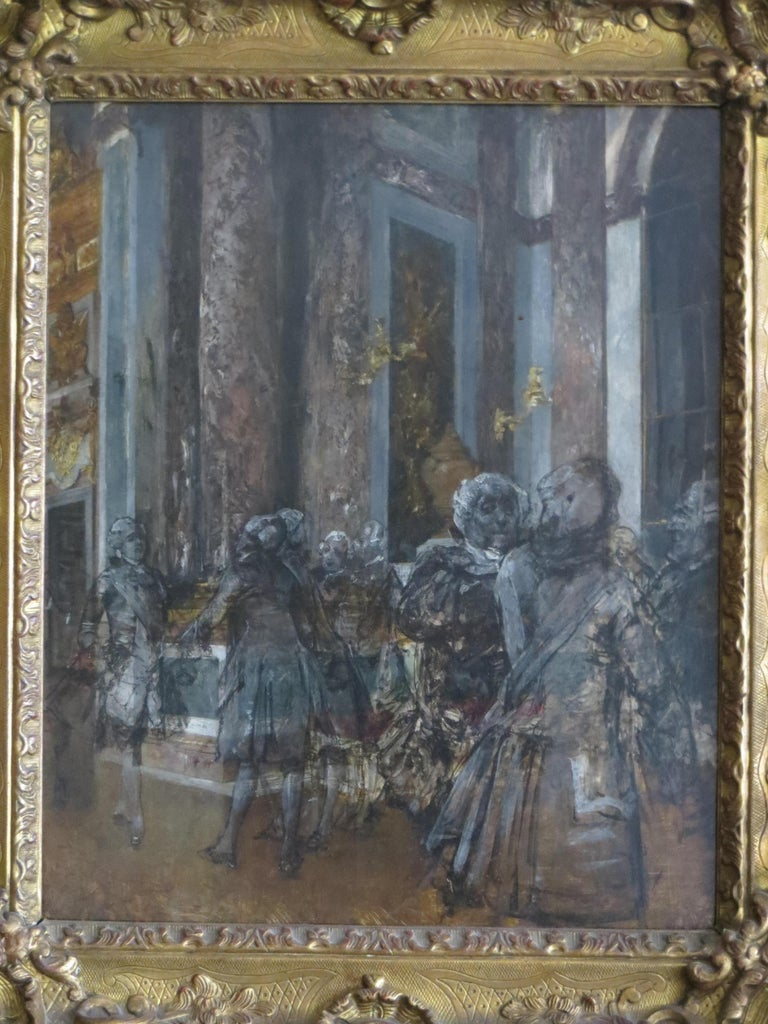Hall of Mirrors in Versailles Castle - Impressionist Painting by Unknown