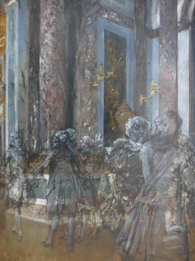 Hall of Mirrors in Versailles Castle - Gray Figurative Painting by Unknown
