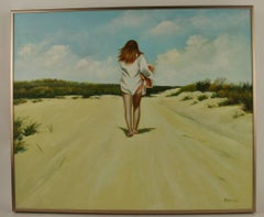 Hamptons Beach Walking Female  Figurative Painting