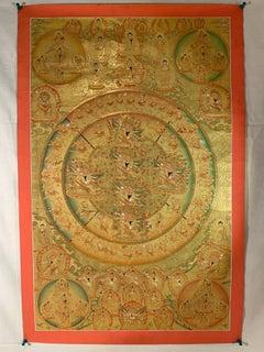 Hand Painted Golden Shakti Chakra Mandala Thangka with 24K Gold