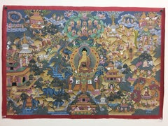 Hand Painted History Buddha Thangka with  24 Karat Gold