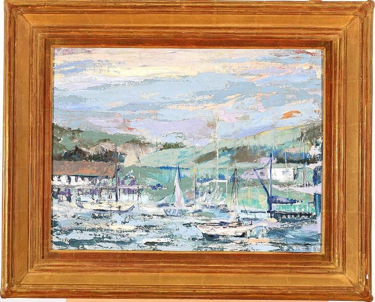 Harbor Scene with Sailboats Impressionist Painting - Gray Landscape Painting by Unknown